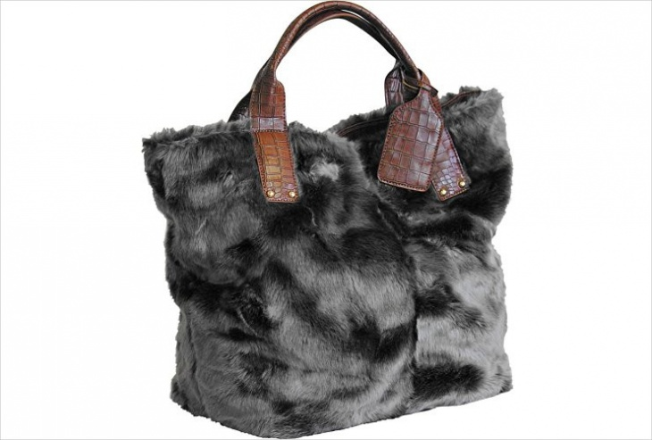 gray fur tote bag design