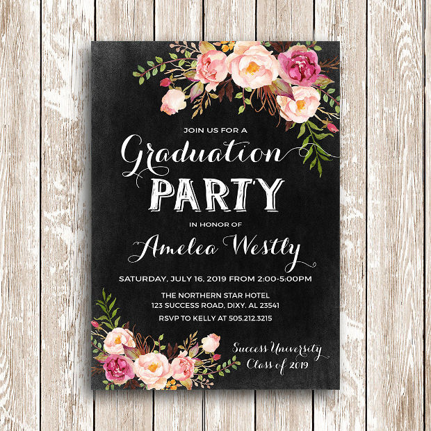 15 Graduation Party Invitations Printable PSD AI Vector EPS – Grad Party Invites
