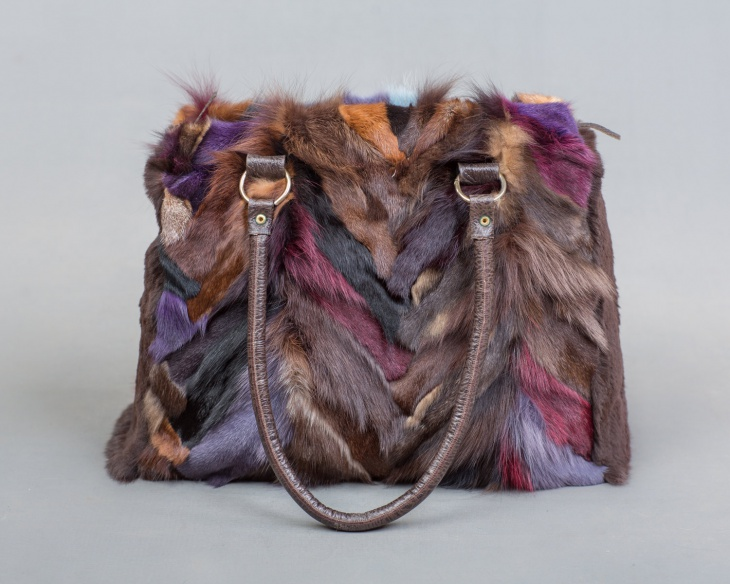 multicolored fur handbag