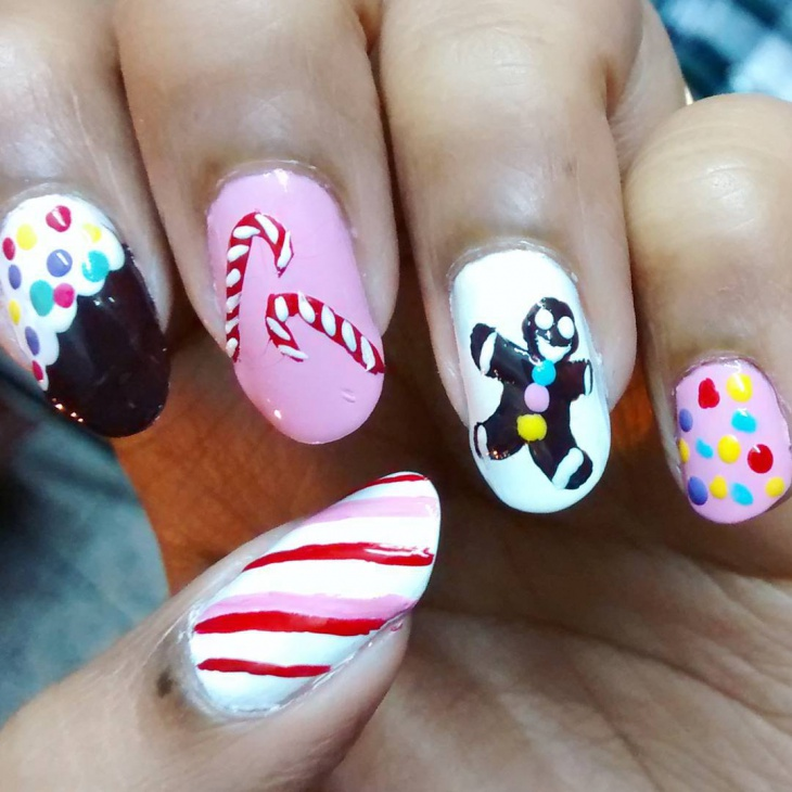 christmas candy cane gel nail art