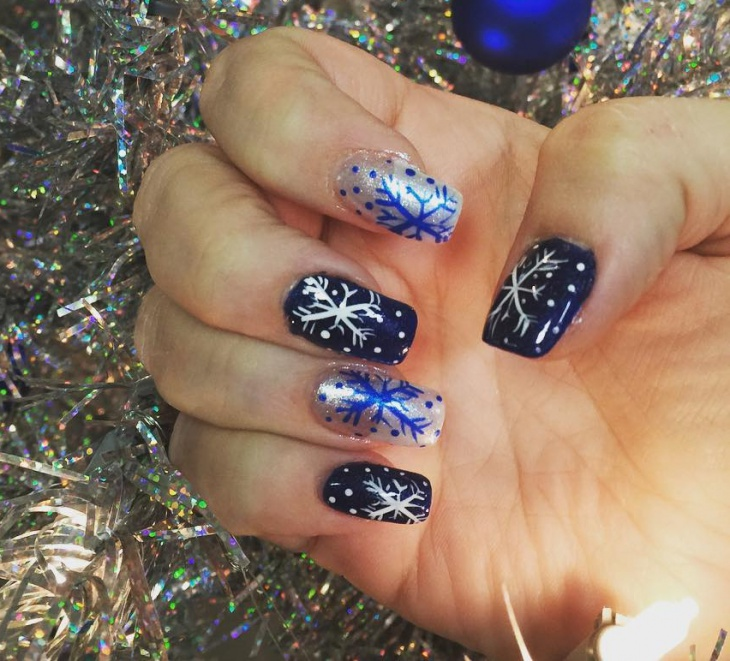 blue and silver christmas nail art