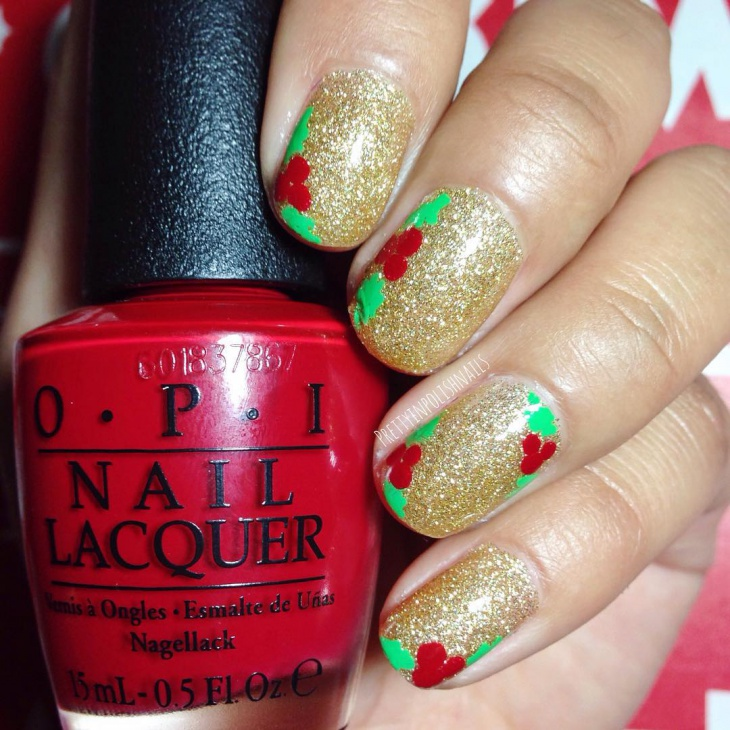 36 christmas nail designs ideas design trends premium psd christmas glitter holly nail design prinsesfo Gallery