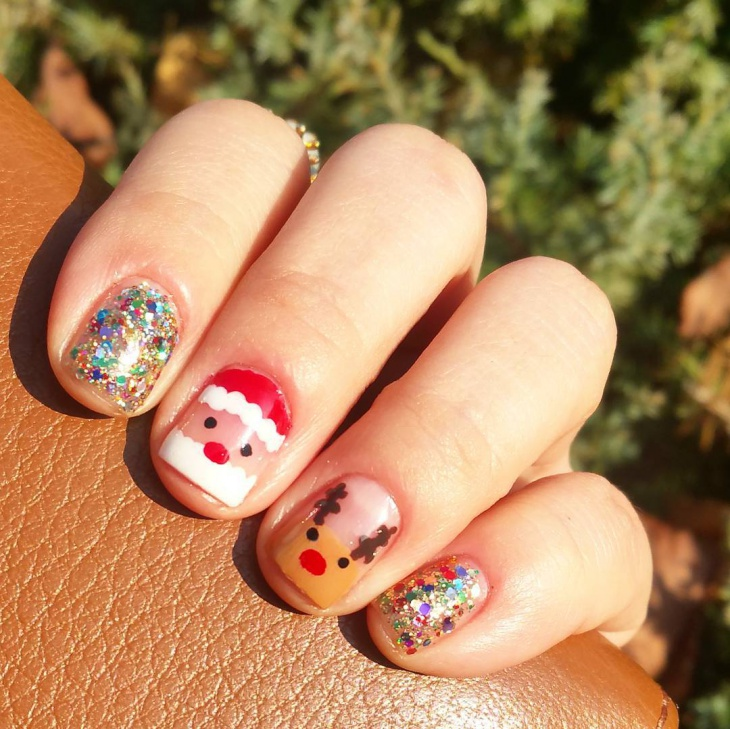 christmas santa face nail art