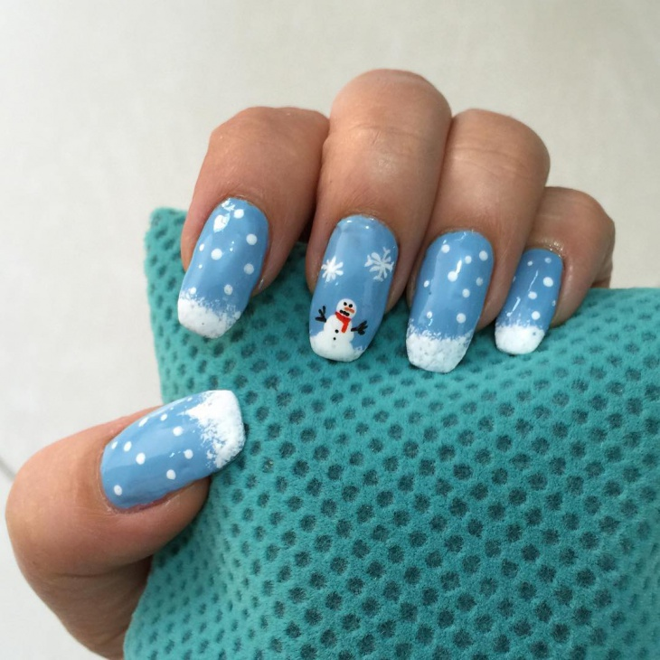 blue snowman christmas nail design