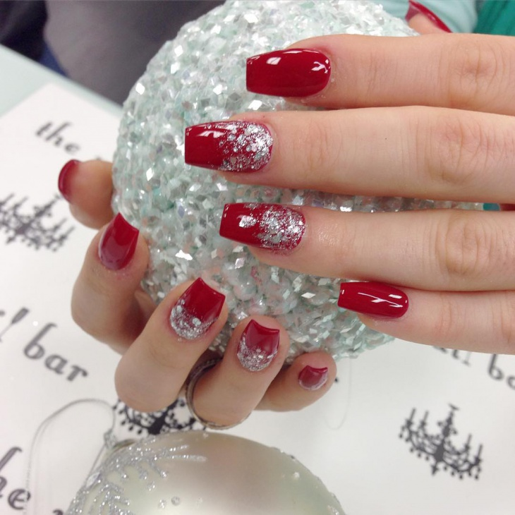 red and silver christmas nail art