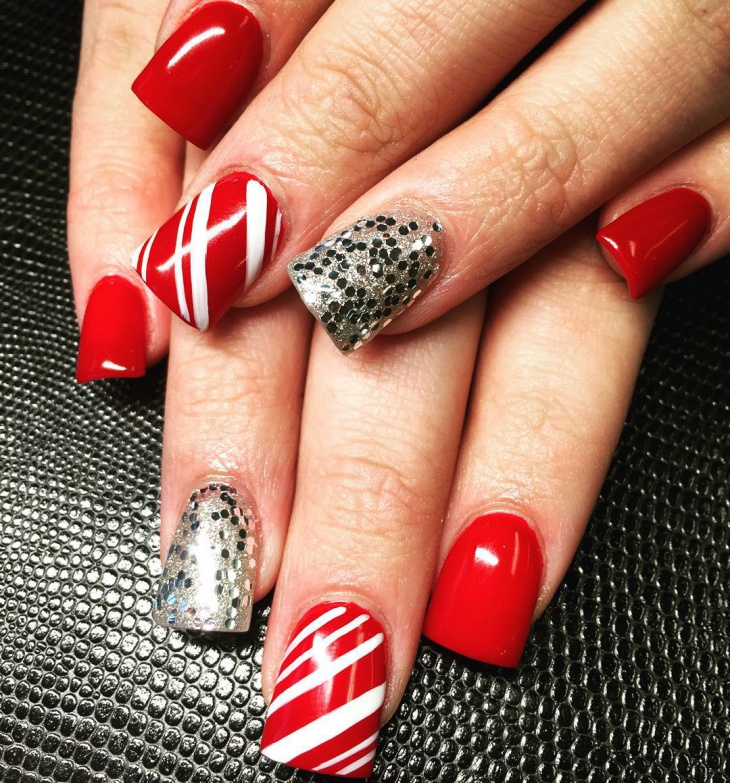 christmas candy cane acrylic nails