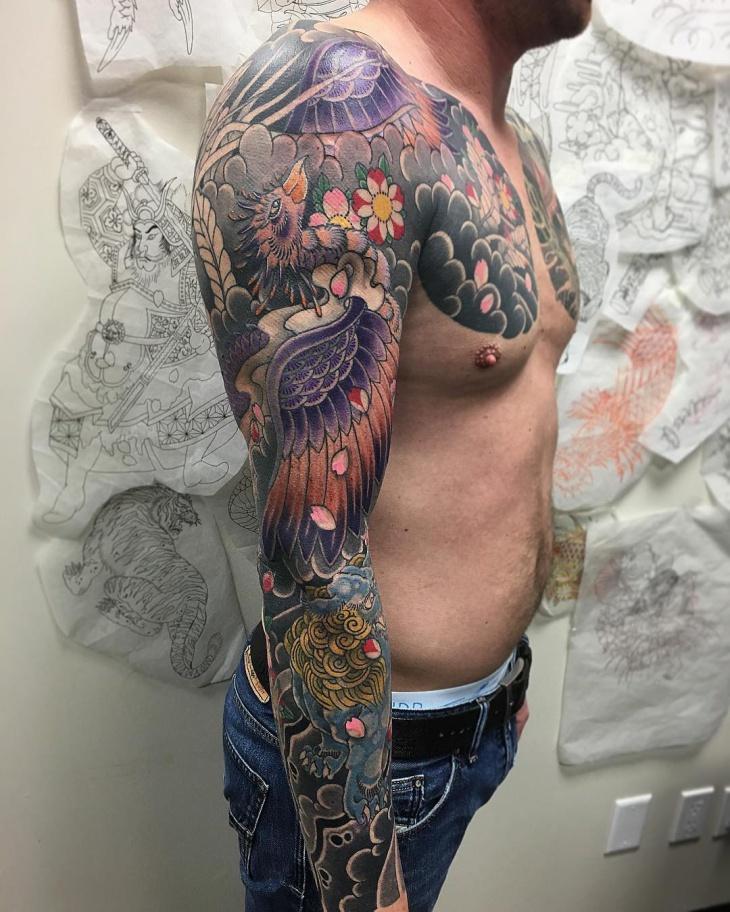 front shoulder phoenix tattoo