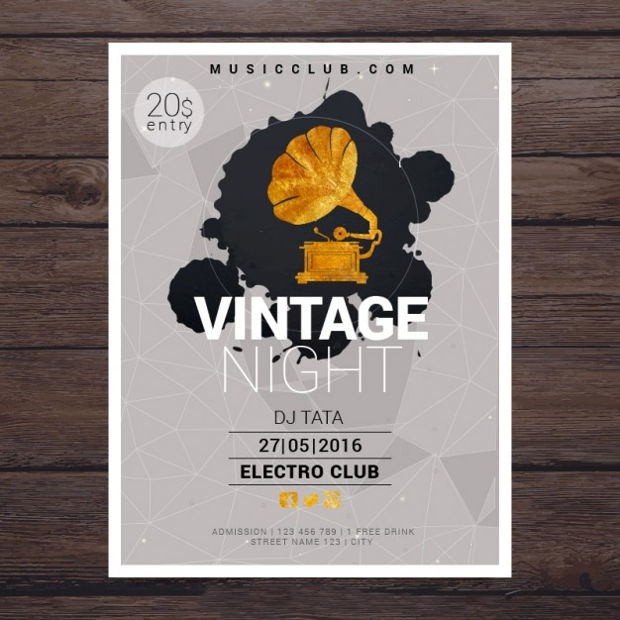 Vintage Night Party Poster Design
