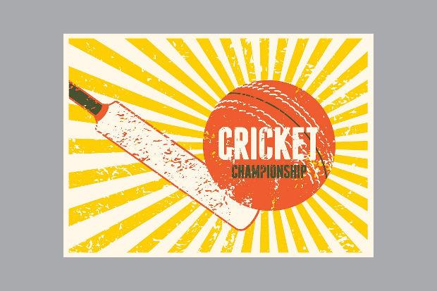 Vintage Cricket Typography Poster