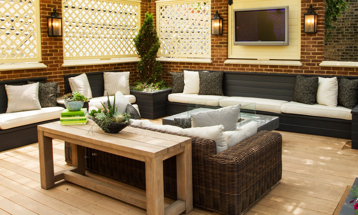 wooden outdoor sofa table