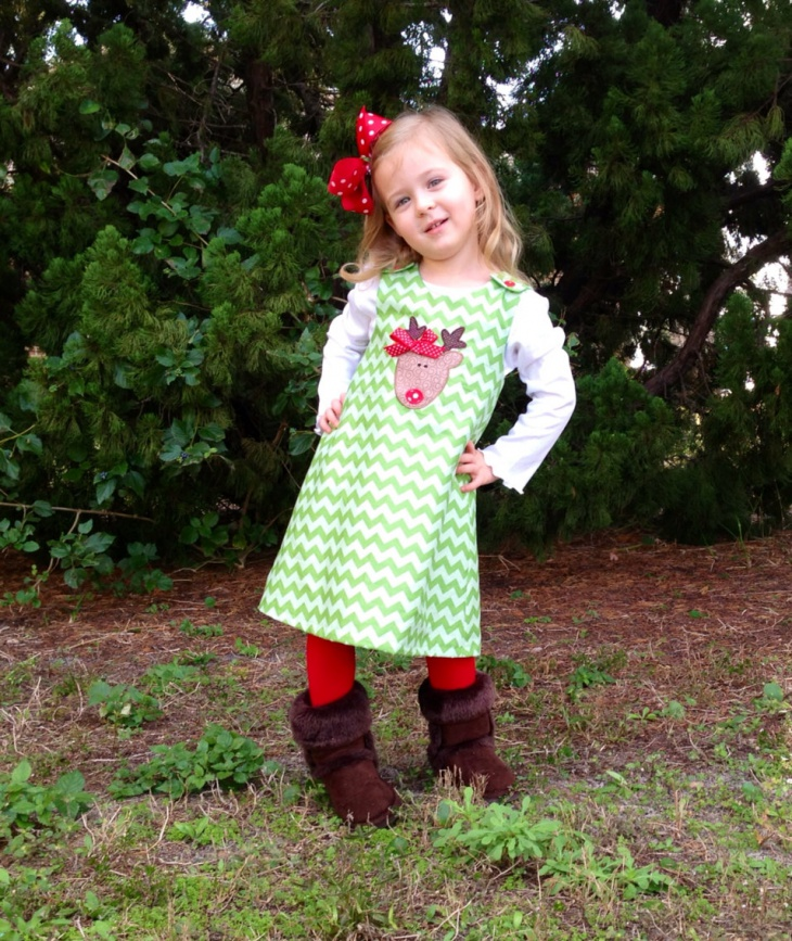 baby girl chevron christmas dress1
