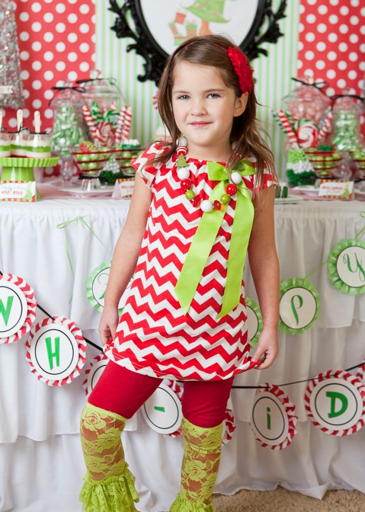 red and white chevron christmas dress