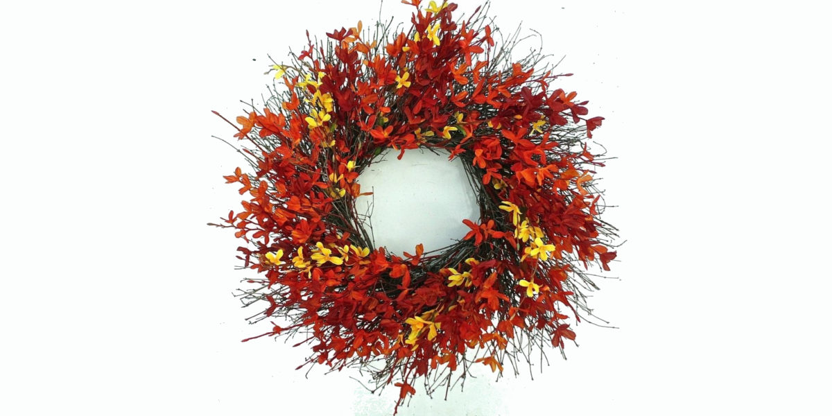 firebush all weather fall door wreath