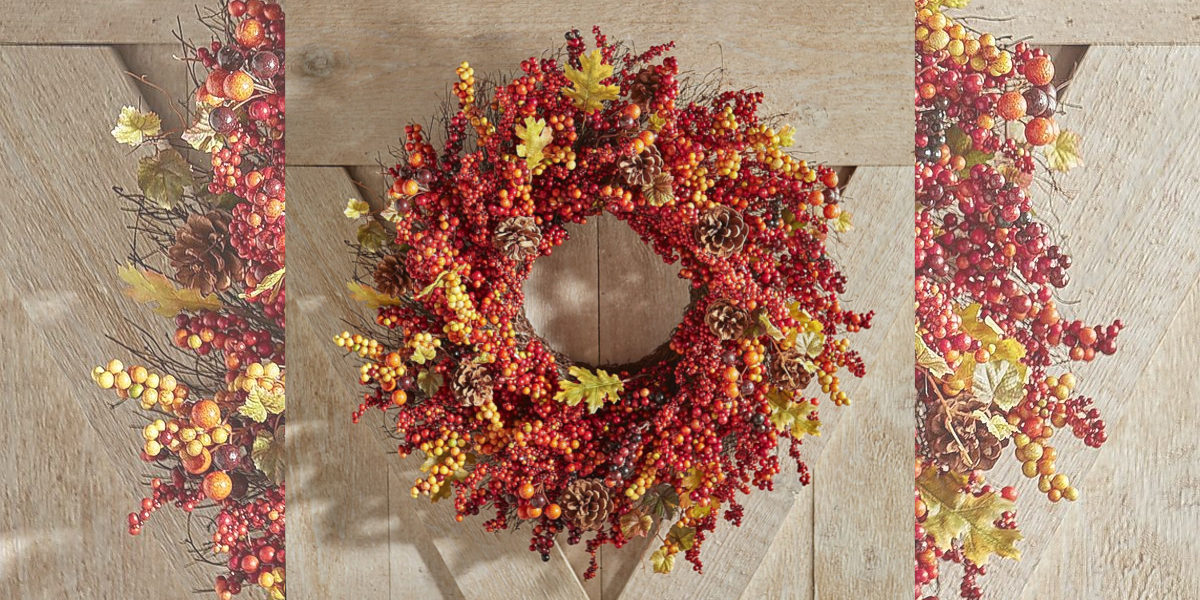 pier 1 imports faux berry red fall wreath