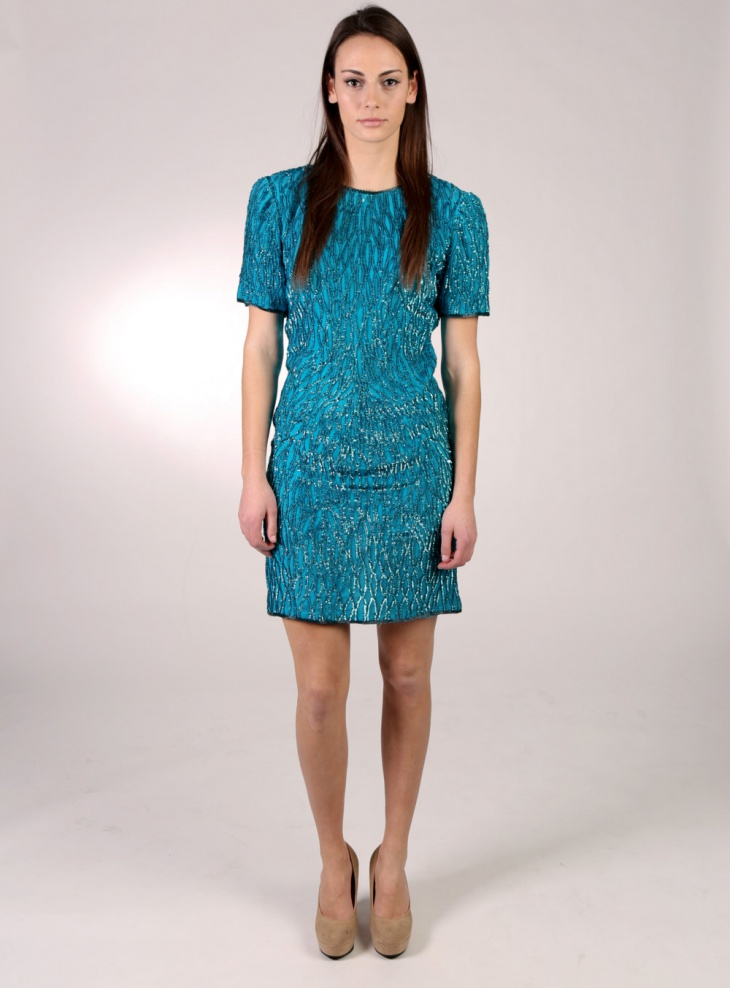 blue sequin christmas dress