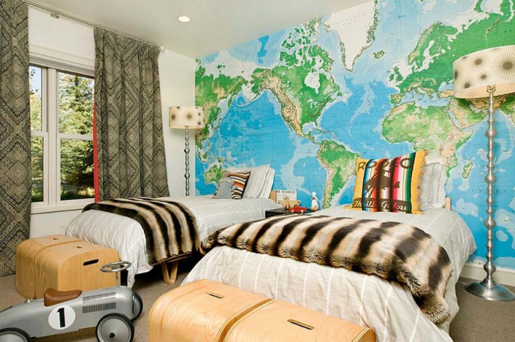 Childrens Room Wall Map Design