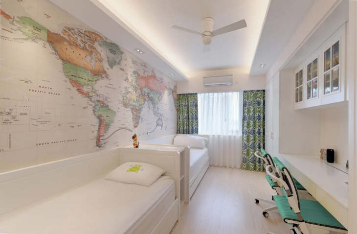 White World Map Wall Design.