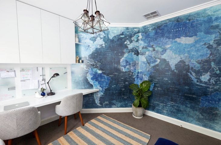 Office With Blue Map Wall Poster