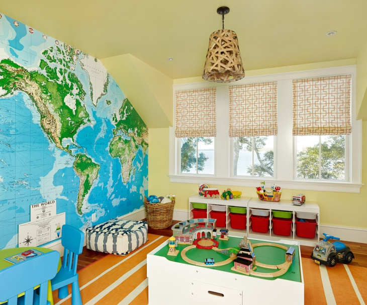 Kids Playroom Map Wall Design.
