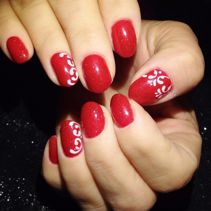 red baroque nail art