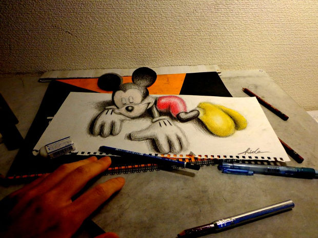 3d mickey mouse pencil drawing