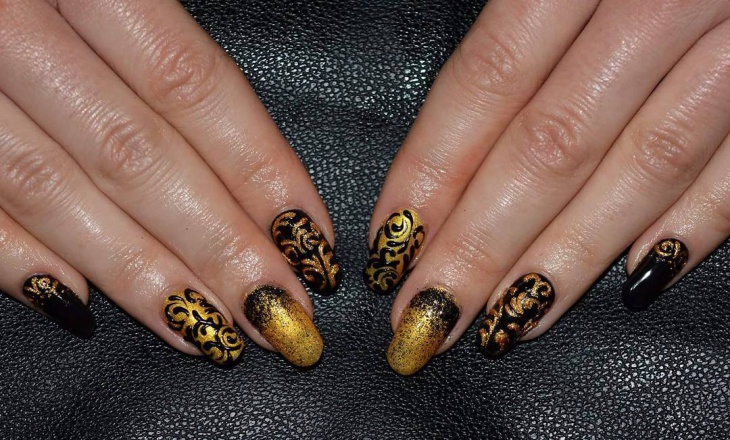 Gold and Black Baroque Nails