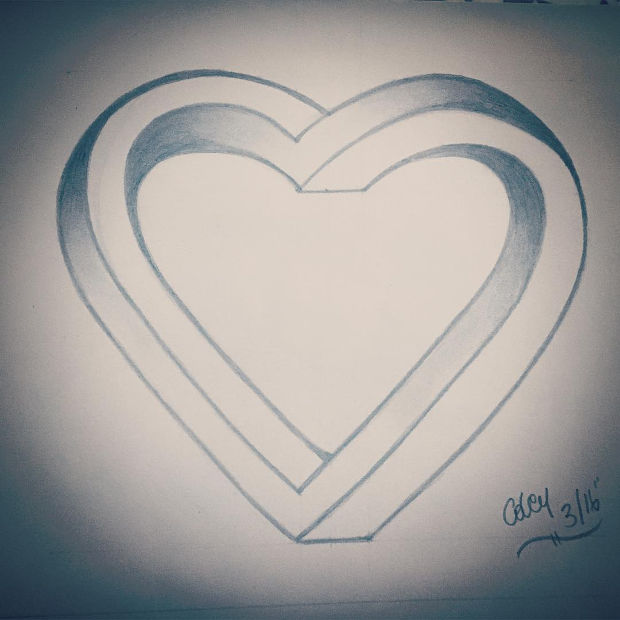 3d heart outline drawing