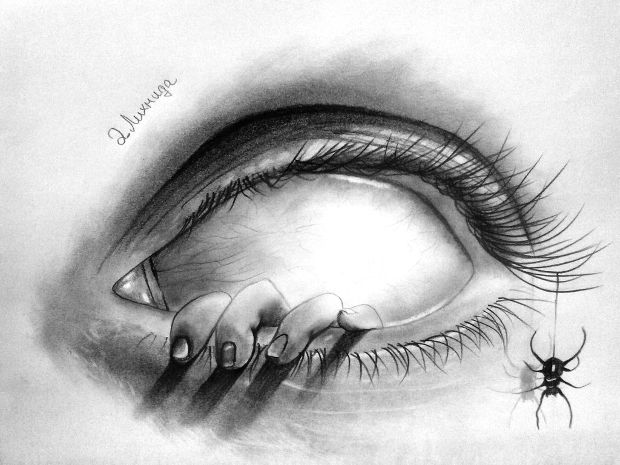 3d scary creepy eye drawing