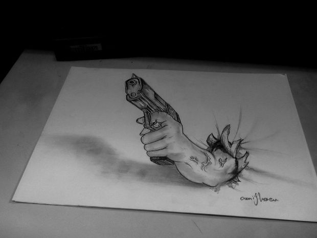 3d hand holding gun drawing