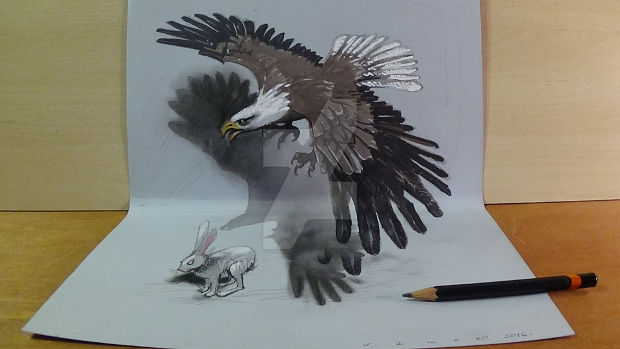 3d haunting eagle drawing