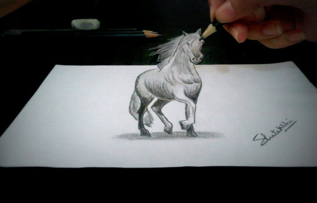 3d horse pencil drawing