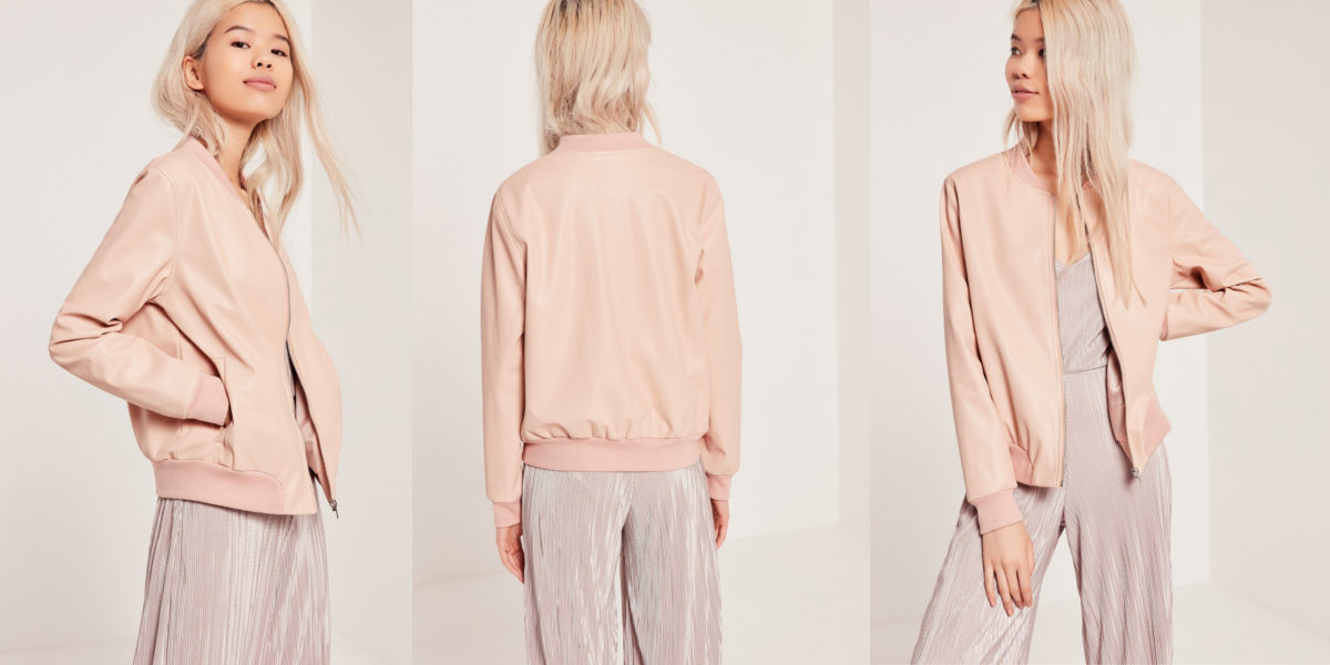 Faux Leather Bomber Jacket in Nude