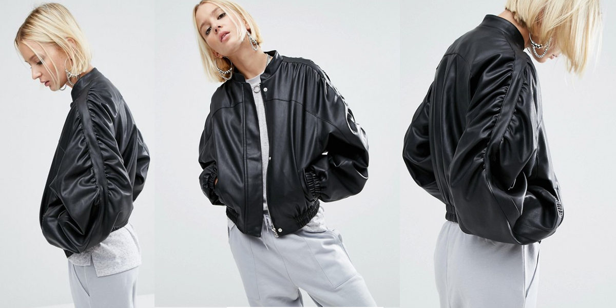 Faux Leather Jacket With 80's Styling