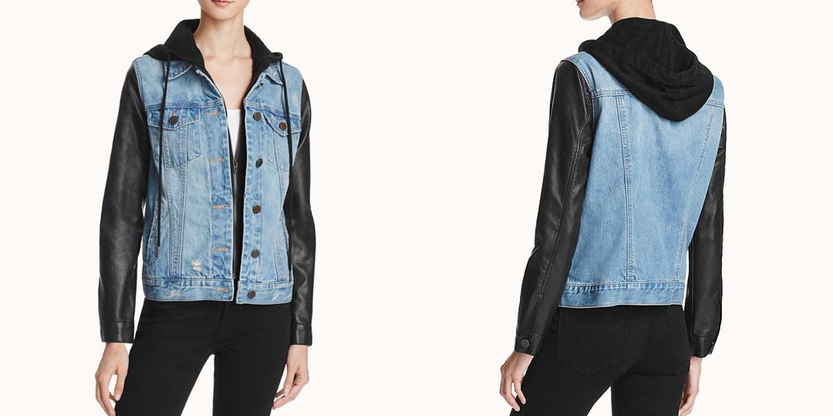 blank nyc faux leather sleeve denim jacket