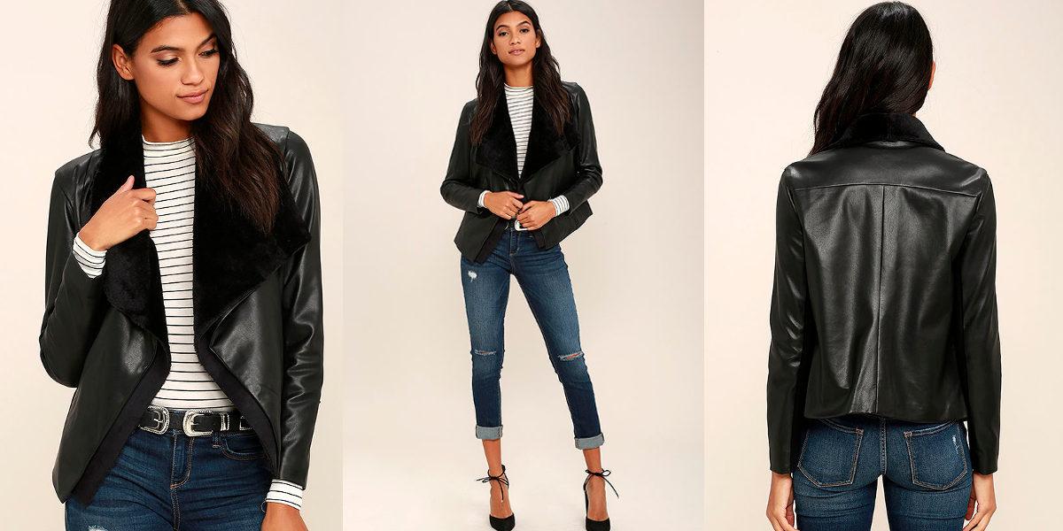 dakota james black vegan leather jacket