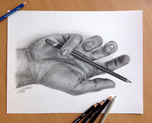 3d pencil hand drawing