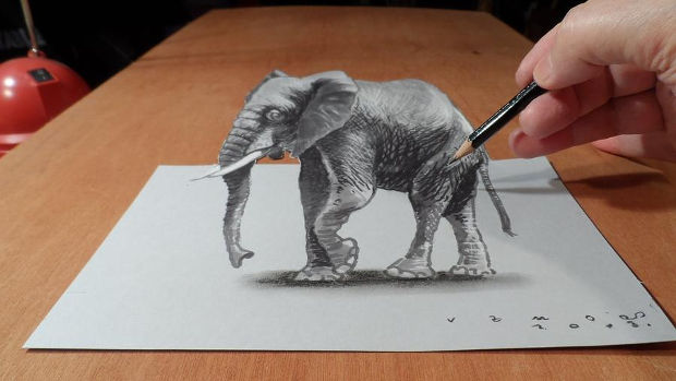 3d pencil elephant drawing