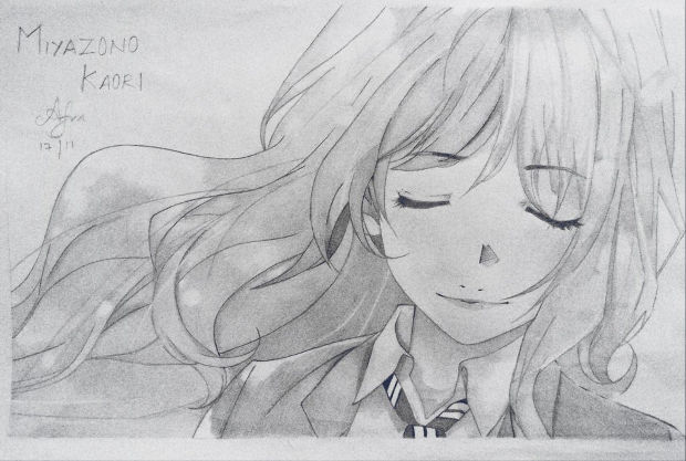 Girl Animae Pencil Drawing