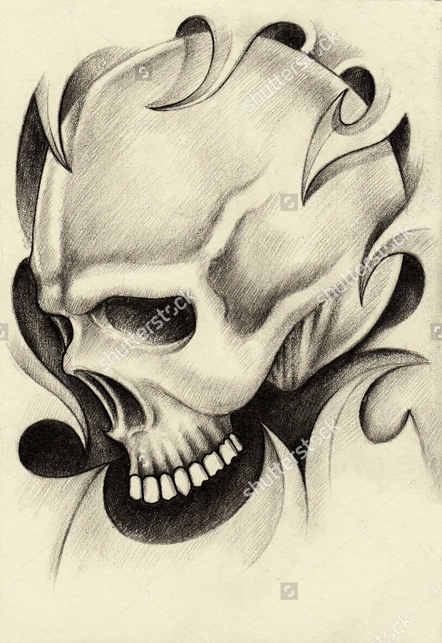 skull tattoo hand pencil drawing