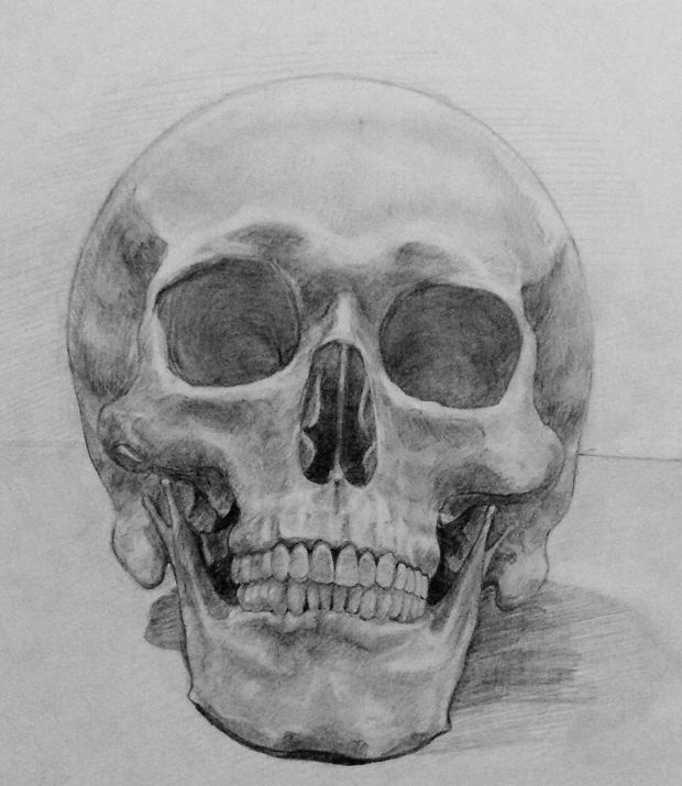 scary skull pencil drawing