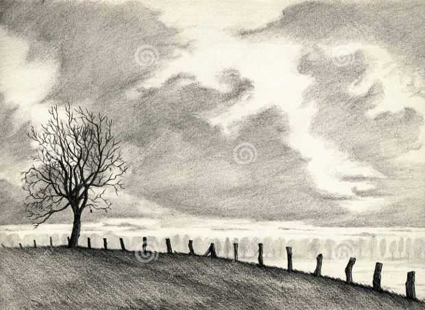Plain Landscape Pencil Drawing