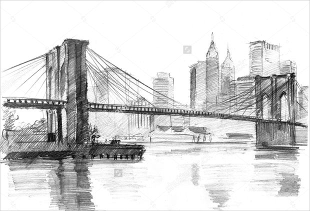 City Landscape Pencil Drawing