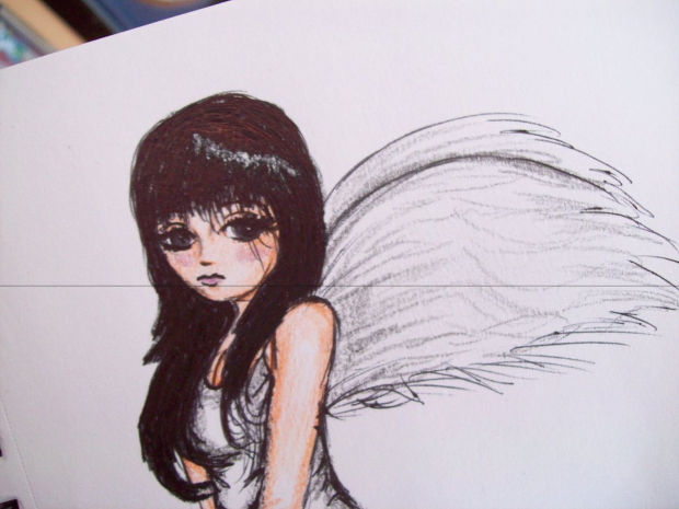 fallen angel pencil drawing