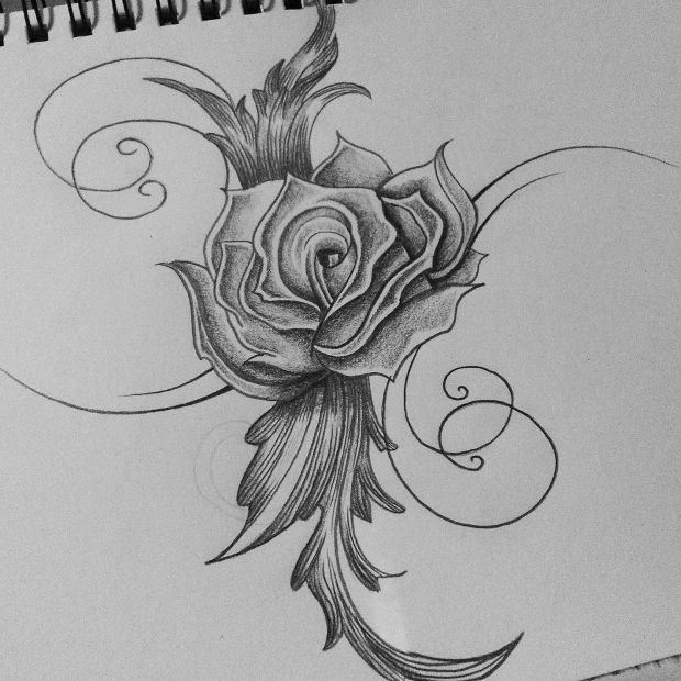 Rose Tribal Tattoo Pencil Drawing