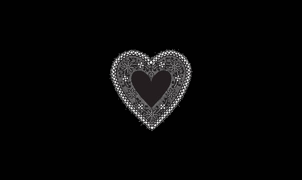 Vintage Black and White Heart Clipart
