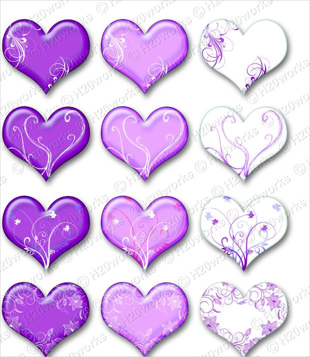 Purple Heart Swirl Clip Art