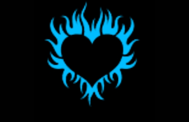 Blue Flaming Heart Clipart