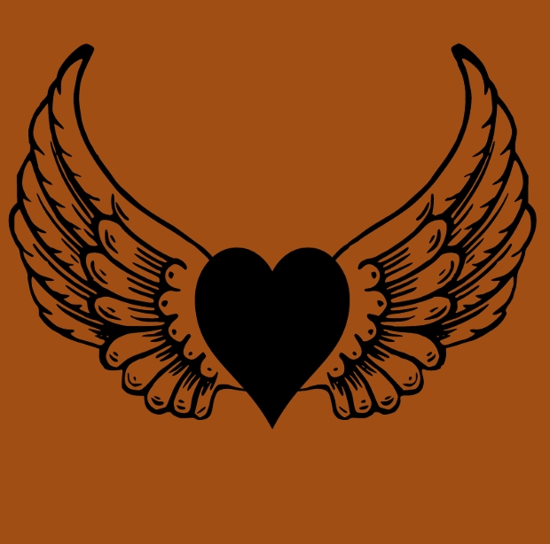 Tribal Heart Clipart with Wings