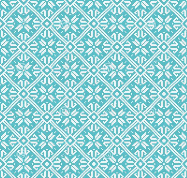 blue geometric snowflake pattern
