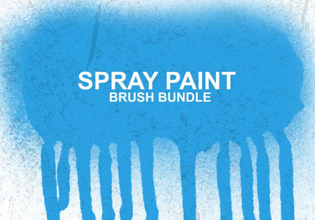 blue spray paint brushes
